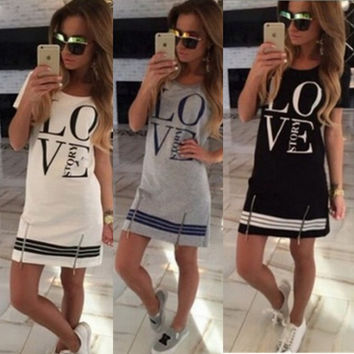 Summer Style Casual Fashion Women Letter Print O Neck Short Sleeve knee dress Tops Blouse