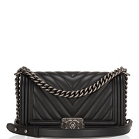 Chanel Black Chevron Medium Boy Bag