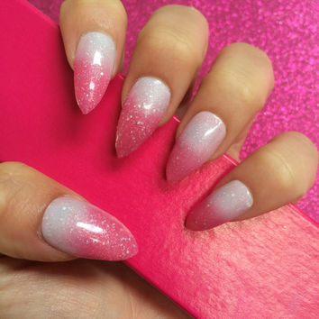 Luxury Hand Painted False Nails. Stiletto Pink Gel Colour Change. 24 Nail Set.