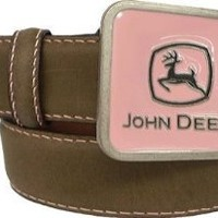 John Deere Girls Brown Crazyhorse Belt with Pink Belt Buckle (Small)