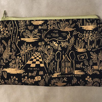 Alice in Wonderland Metallic Gold and Black - Pencil Case / Make Up Bag