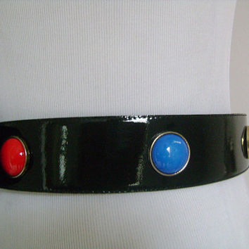 ESCADA Made in Western Germany Glossy Black Patent Leather With Red Green Blue Cabochon and Gold Hardware Buckle Belt Size 38 Fits S-M Waist