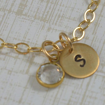 Gold Bracelet Hand Stamped Personalized Charm Bracelet with Swarovski Crystal Birthstone Charm - 14K Gold Filled Initial Bracelet
