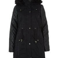 Brave Soul Black Quilted Sleeve Faux Fur Trim Hooded Parka