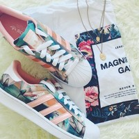 Floral and Coral Adidas Original Sneakers