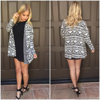 Up A Notch Aztec Cardigan Blazer