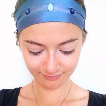 Spirit, crystal healing blue silk headband incrusted with moonstone and lapis lazuli gemstones