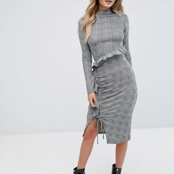 River Island Ruffle Front Bodycon Check Dress at asos.com