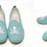 Women skull Embroidered Loafers ballet flats Slippers punk canvas Moccasins