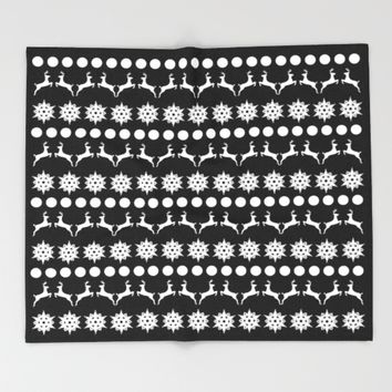Black and White Christmas Throw Blanket by Laura Maria Designs