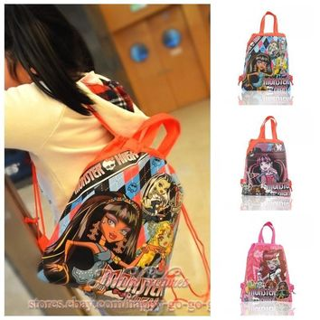 1PCS Monster High Children Drawstring Backpacks School Shopping Bags 34*27CM Non Woven Fabrics Kids Birthday Party Best Gift