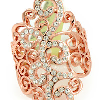 Rose Gold and Crystal Swirling Statement Ring - CLEARANCE