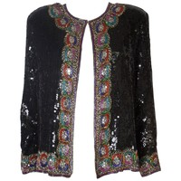 Sequin and Bead Vintage Jacket with Multicolour Trim