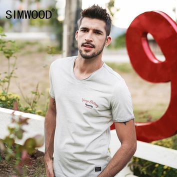 SIMWOOD 2018 Summer New  Vintage T shirt Men V-Neck Pure Cotton Plus Size High Quality Tees Slim Fit Fashion Tops TD017116