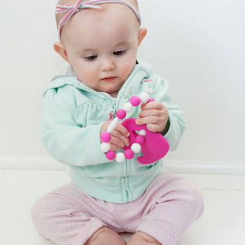 Baby Teether/Organic Eco Friendly/Sensory Toy/Hot Pink Elephant/FREE shipping on U.S. orders