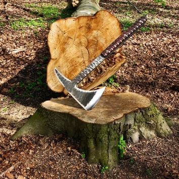 Hand forged Forest Axe High Carbon Steel Chopping Survival Hatchet Fire Tools ,Camping Tomahawk, Best Men Gift ,Viking Axe