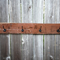 Reclaimed Wood Wall Rack / Baseball Hat Rack / Coat Rack / Cowboy Hat Rack / Rustic Hat Rack / Jackets / Brown Wall Rack / Wood Hat Rack