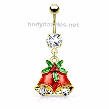 Gold Gemmed Mistletoe and Bell Dangle Navel Ring Belly Button Ring 14ga Surgical Stainless Steel