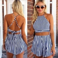 Backless Stylish Beach Two Piece Top & Shorts [6343456001]