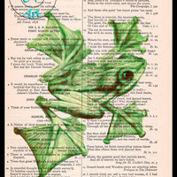 Bright Green Webbed Frog Drawing Beautifully Upcycled Vintage Dictionary Page Book Art Print, Amphibean Print