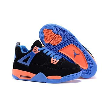 Kids Air Jordan 4 Black/blue/orange Sneaker Shoe Size Us 11c 3y | Best Deal Online