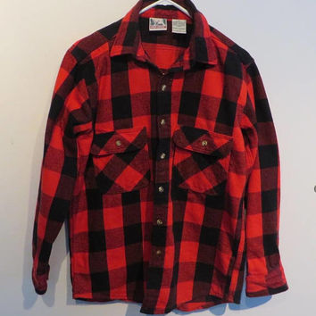 Vintage Red Flannel Shirt, Deer Creek Buffalo Plaid Shirt, Men's Flannel, Western Shirt, Size Medium, FREE SHIPPING
