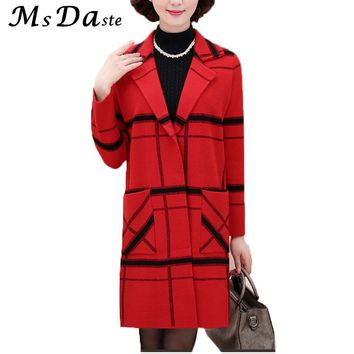 2017 Autumn Winter Women Sweater Dress Plaid Long Knitted Christmas Sweaters Cardigans Tunic Casaco Feminino Red Green Navy Blue
