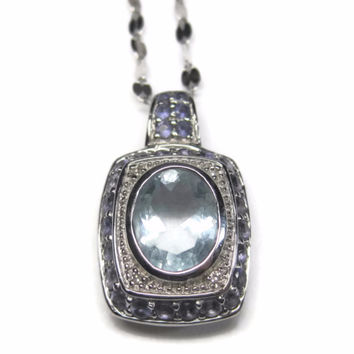 Vintage 10K Aquamarine Tanzanite Pendant Necklace
