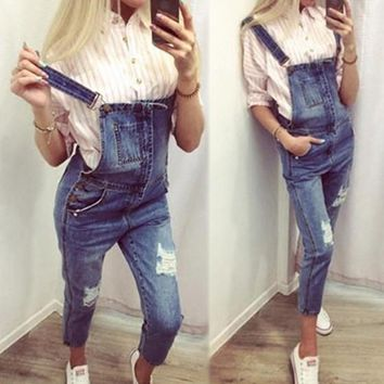 Blue Shoulder-Strap Single Breasted Pockets Sewing Mid-rise Casual Long Jumpsuit