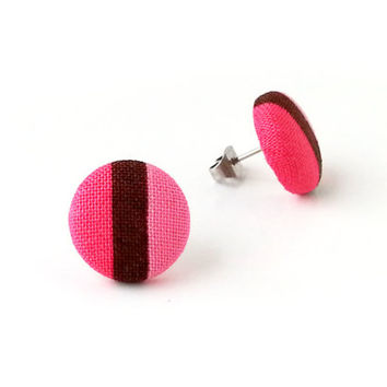 Bright button earrings - striped fabric earrings - tiny stud earrings - stripes brown pink - gift for girlfriend - under 10