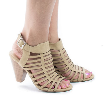Russell Camel By City Classified, Gladiator Strappy Open Toe Sling Back Stacked Heel Sandals
