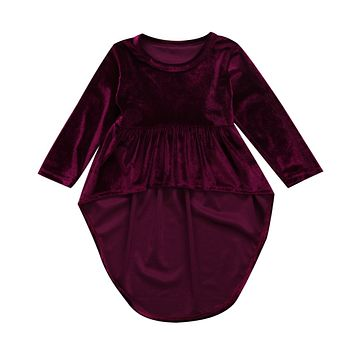 Infant Baby Girls Clothing Long Sleeve Dress Casual Warm Wine Red Princess Mini Cute Dresses Girl