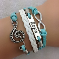 infinity Antique Charm colorful leather hope music romatic Bracelet = 1931792260