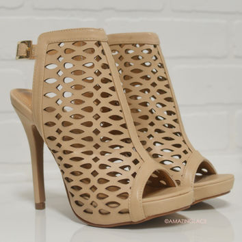 Stepping Up Nude Caged Cut Out Neutral Heels