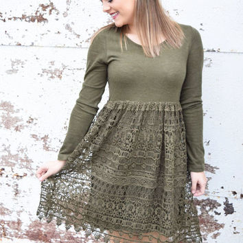 olive long sleeve dress with lace detail