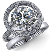 Melanie Round Moissanite Diamond Halo and Shoulders Ring