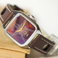 Men's watch mechanical, square upcycled watch, wristwatch Star face, burgundy purple watch, premium leather band new