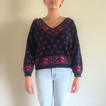 Vintage 80s Crop V Neck Navy Blue and Pink Sweater
