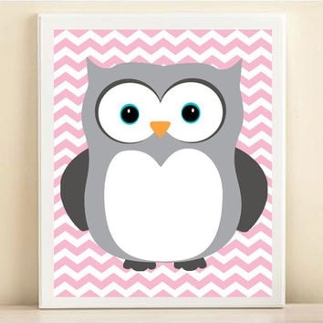 Nursery Chevron Owl Art Print: Pink Baby Girl Nursery Wall Decor - Customize To Your Colors 8x10