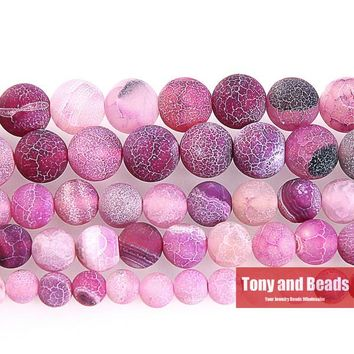 Free Shipping Natural Stone Frost Crab Purple Agata Round Loose Beads  6 8 10 12MM Pick Size For Jewelry Making FAB6