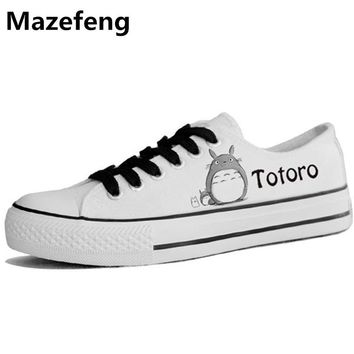 Canvas Shoes Korean Couple Totoro Low Student Graffiti Hand-painted Flat Shoes Men Cartoon Breathable Zapatos Size 35-44