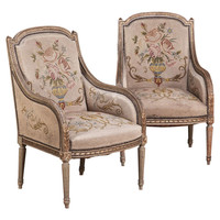 Pair Antique Louis XVI Painted Tapestry Armchairs