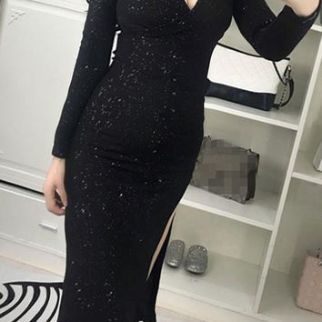 Black Irregular Sequin V-neck Long Sleeve Midi Dress