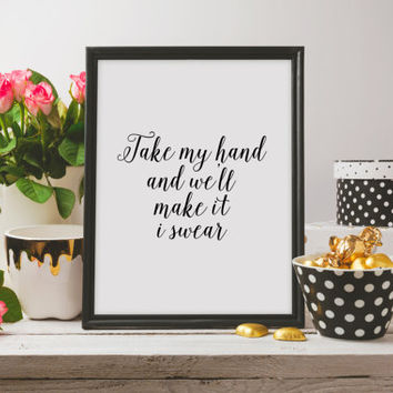 JukeBlox Song Lyric Typography Art Kitchen Decor Trivet Hot Pad Printable Art Bon Jovi Lyric Art - Take My Hand And We'll Make It I Swear