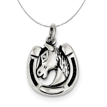 Sterling Silver Antiqued Horseshoe and Horse Head Necklace