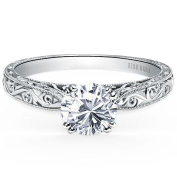 "Kirk Kara ""Stella"" Round Cut Diamond Hand Engraved Engagement Ring"