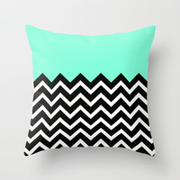 Tiffany Pastel Chevron Print Throw Pillow by RexLambo