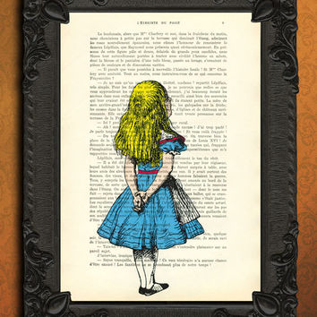 ALICE in WONDERLAND Art Print on Antique Book Page Dictionary Page Upcycled Recycled