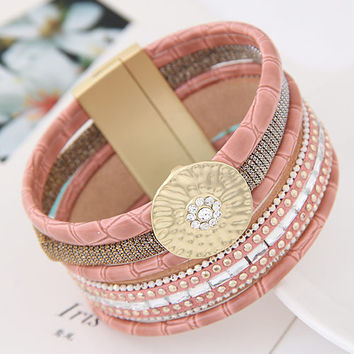 2016 Luxury Boho Bamboo Leather Bracelets Bangles with Magnetic Buckle Wrap Jewelry Pulsera for Women brazaletes pulseras mujer