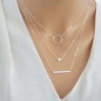 Silver Layered Necklace Set  Silver Bar Necklace Jewelry For Women Charm Necklace  XL045